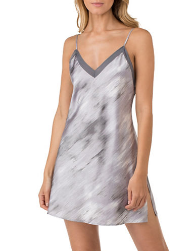 H Halston Satin Charmeuse and Georgette Slip-GREY-Medium