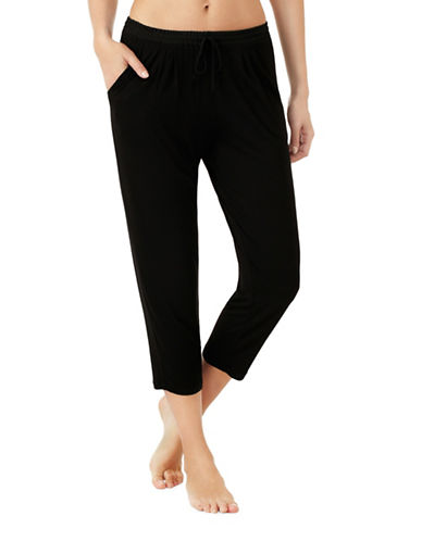 H Halston Jersey and Georgette Cropped Pyjama Pants-BLACK-Small 89011882_BLACK_Small