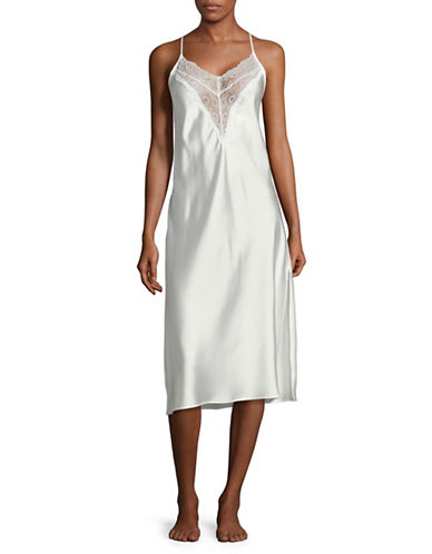 H Halston Long Lace Chemise-WHITE-Small