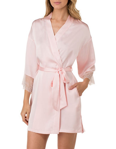 H Halston Lace-Trimmed Short Robe-PINK-X-Large