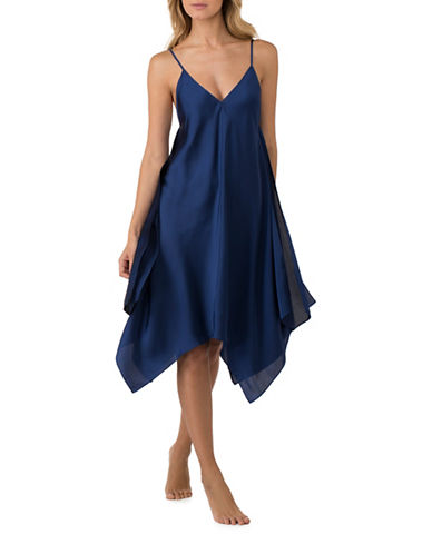 H Halston Satin Charmeuse Chemise-NAVY BLUE-Large