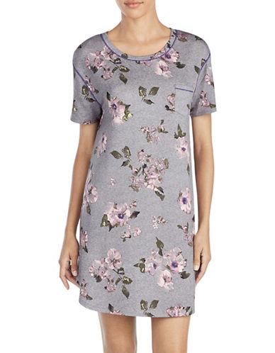Kensie Floral Short-Sleeve Sleepshirt-GREY-X-Large