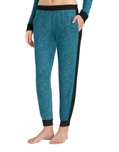 Kensie Two-Tone Ribbed Jogger Pants-BLUE-Small
