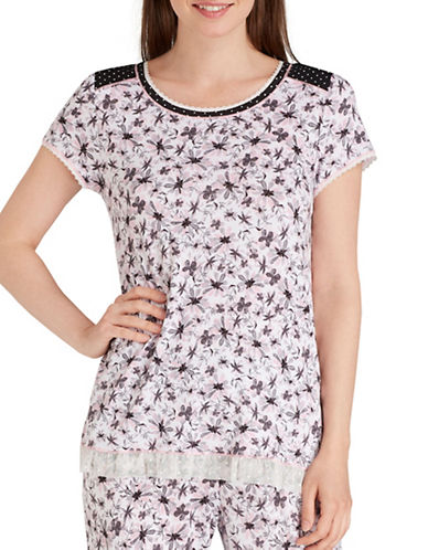 Kensie Lace Trim T-Shirt-FLORAL-Small