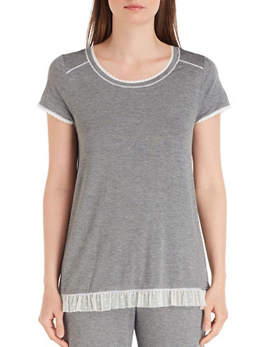 Kensie Lace Trim T-Shirt-GREY-Medium