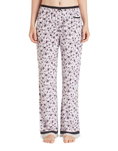 Kensie Jersey Ruffle Mesh Pyjama Pants-FLORAL-Large