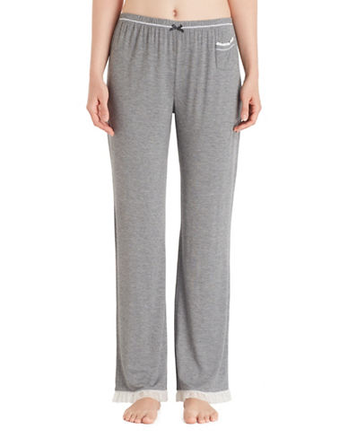 Kensie Jersey Ruffle Mesh Pyjama Pants-GREY-Medium