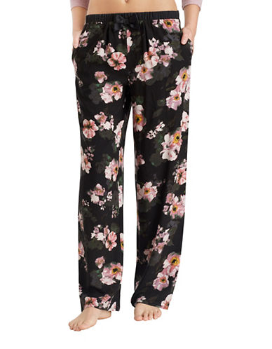 Kensie Floral Wide Leg Pajama Pants-BLACK-Large
