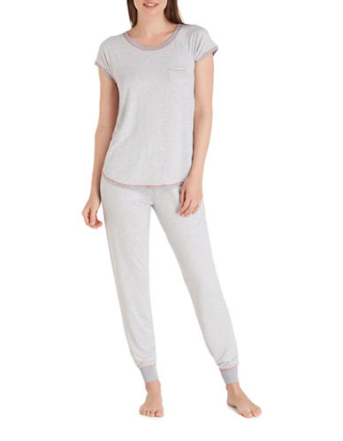 Kensie Jersey Pajamas-WHITE-Small