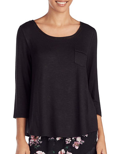 Kensie Three-Quarter Pajama Top-BLACK-Large