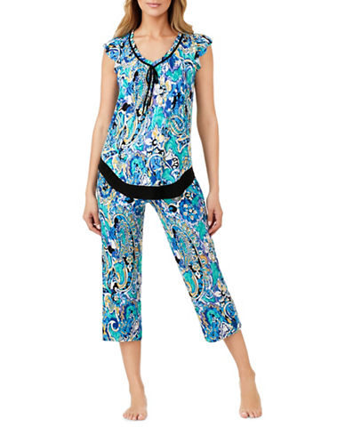 Ellen Tracy Jersey Ruffle Pyjama Top-BLUE-Small
