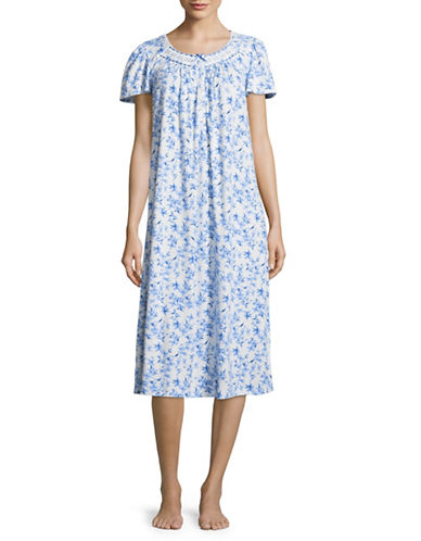 Aria Floral-Printed Short-Sleeve Gown-BLUE FLORAL-Large