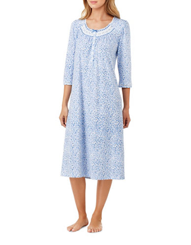 Aria Printed Ballet Cotton Nightgown-NATURAL-Medium