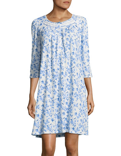 Aria Floral-Printed Three-Quarter Sleeve Gown-BLUE FLORAL-Small