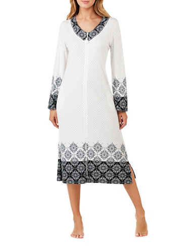 Aria Long Sleeve Robe-WHITE/BLACK-Large