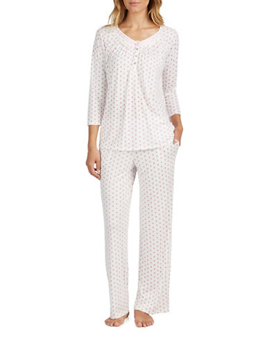 Aria Beaded Lace Neck Pajamas-NATURAL-Small