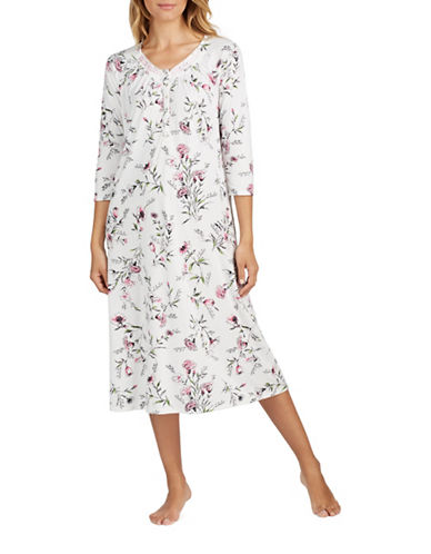 Aria Long Sleeve Nightgown-FLORAL-Medium