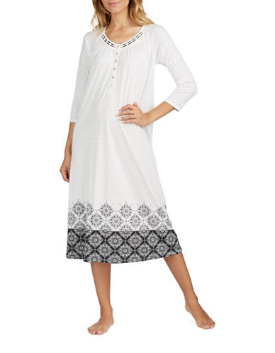 Aria Long Sleeve Nightgown-WHITE/BLACK-X-Large