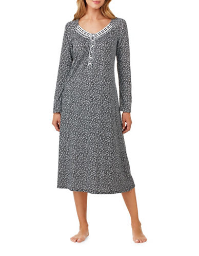 Aria Long Sleeve Nightgown-GREY-Large