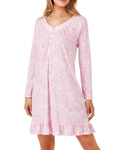 Aria Long Sleeve Nightgown-PINK PAISLEY-X-Large