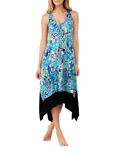 Ellen Tracy Jersey Racerback Nightgown-BLUE-Large