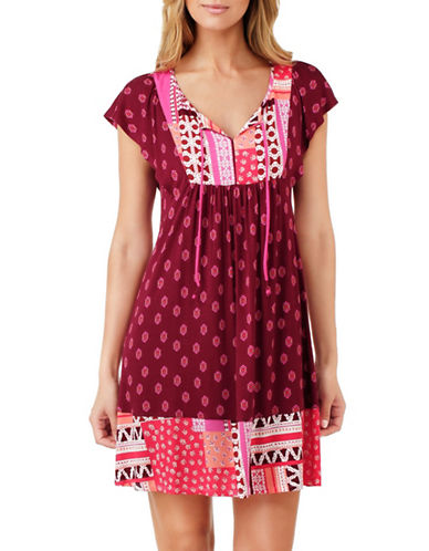 Ellen Tracy Short Sleeve Mixed Print Dress-RED-Small