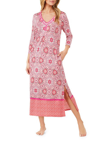 Ellen Tracy Floral Long Tunic-PINK-Small