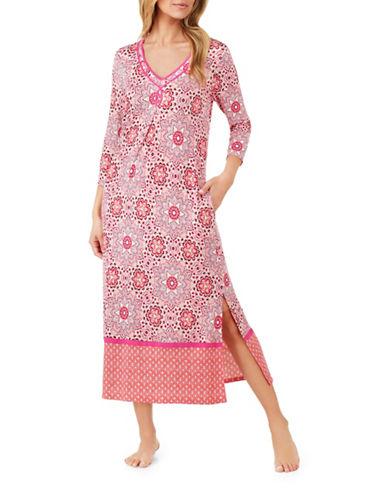 Ellen Tracy Floral Long Tunic-PINK-Medium