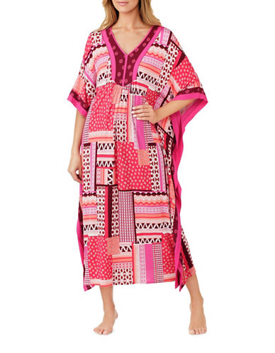 Ellen Tracy Butterfly Sleeve Caftan-RED-Small/Medium