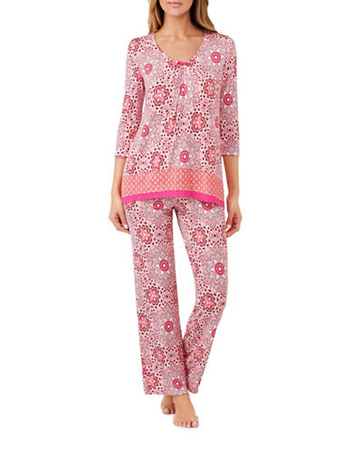 Ellen Tracy Shirred Pajama Top-PINK-Large