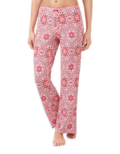 Ellen Tracy Elasticized Pajama Pants-PINK-Large