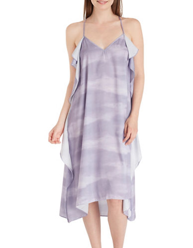 H Halston Washed Satin Racerback Ruffle Slip-PURPLE-Small