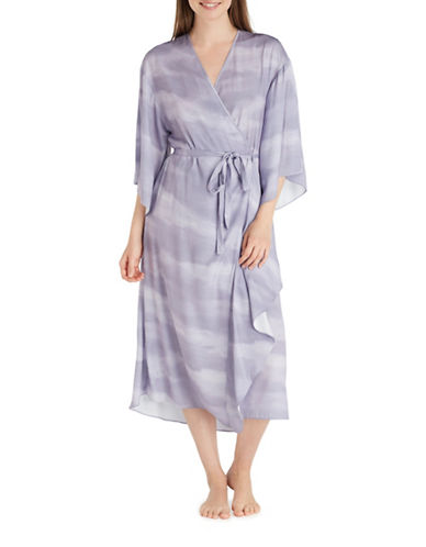 H Halston Washed Satin Ruffle Robe-PURPLE-Small/Medium