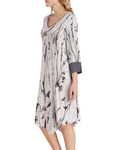 H Halston Jersey and Chiffon Asymmetrical Sleep Tee-GREY-Medium
