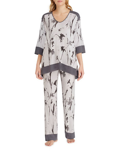 H Halston Jersey and Chiffon Pyjama Set-GREY-Small