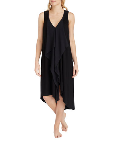 H Halston Jersey and Chiffon Asymmetrical Slip-BLACK-Medium