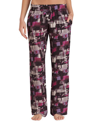 H Halston Washed Satin Pyjama Pants-BLACK-X-Large