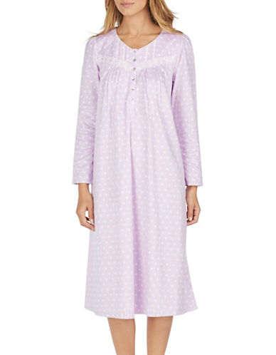 Aria Long Sleeve Sleep Dress-LAVENDAR-Small