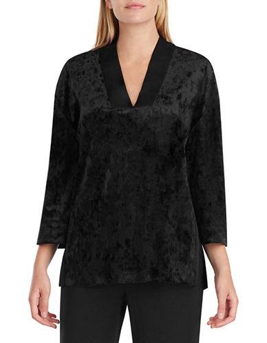 H Halston Velvet Pyjama Top-BLACK-Small
