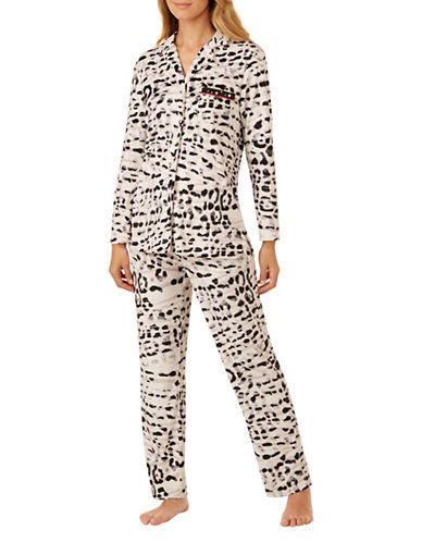 Ellen Tracy Abstract Floral Pajama Set-ANIMAL PRINT-Small