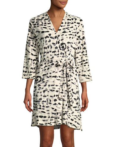 Ellen Tracy Velour Wrap Robe-ANIMAL PRINT-Small/Medium