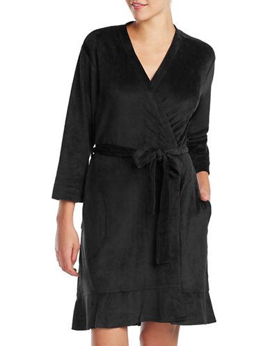 Ellen Tracy Velour Wrap Robe-BLACK-Small/Medium