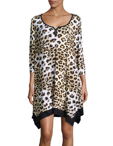 Ellen Tracy Leopard Print Sleep Shirt-BROWN-Medium