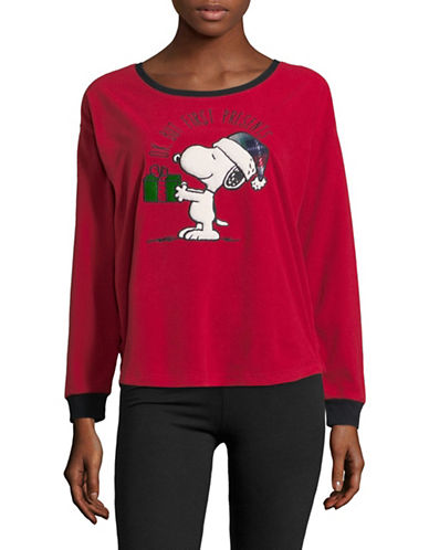 Peanuts Ok But First Presents Pyjama Top-RED-Large