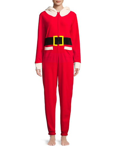Sleeptease Hooded Santa Claus Coverall-RED-Small/Medium