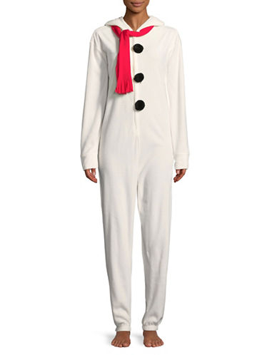 Sleeptease Hooded Snowman Coverall-WHITE-Large/X-Large