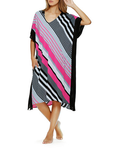 Dkny Plus City Break Striped Caftan-PINK STRIPE-2X plus size,  plus size fashion plus size appare