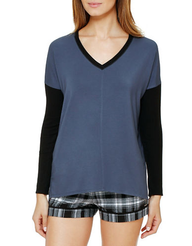 Dkny Plaid Town Colourblock Top-GREY-Large 88627031_GREY_Large