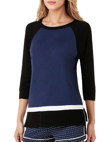 Dkny Colourblock Pajama Top-BLUE-Medium