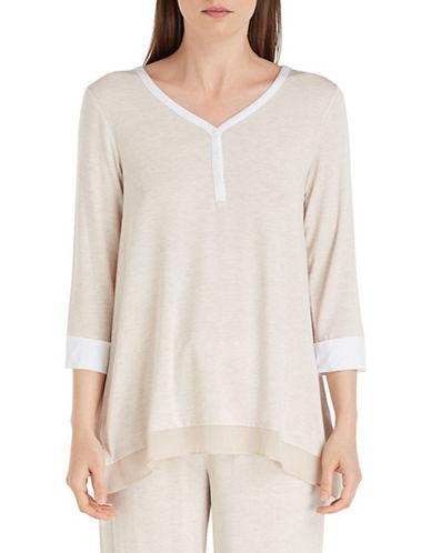 Dkny Jersey Pajama Top-BEIGE-X-Large